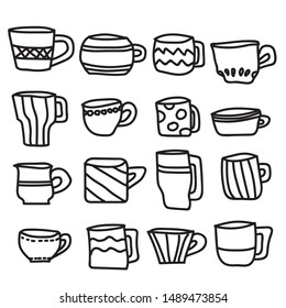 Black and White Freehand cups doodle Lines on isolated white Background , Design Vector illustration