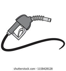 Black and White Fuel Pump - A vector cartoon illustration of a gas pump concept.