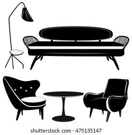 Black and white furniture icons set silhouettes.