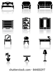 Black and white furniture icons set