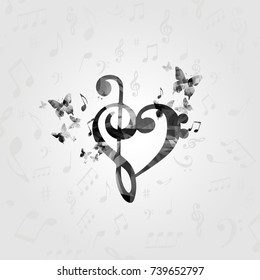 Black and white G-clef heart with music notes. Music poster with music notes. Music elements design for card, poster, invitation vector illustration