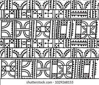 Black and white geometric abstract seamless pattern. African fantasy motif, hand drawn geometric shapes in monochrome colors
