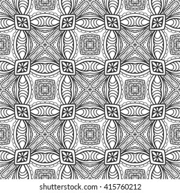 Black and white geometric floral seamless pattern, monochrome sketchy background. Tribal ethnic ornament, decoration repeating texture endless pattern, vector illustration