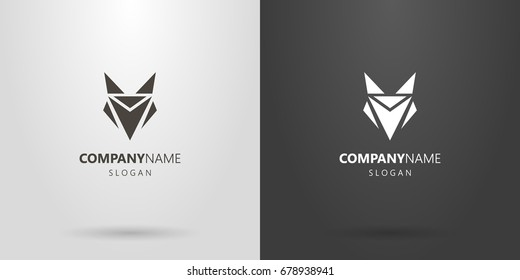 Black and white geometric logo of an abstract fox head