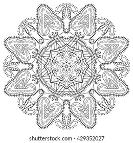 Black and white geometric mandala background. Round ornament decoration, isolated design element. Zentangle art for coloring book. Tribal ethnic floral mandala pattern doodle sketch for coloring page