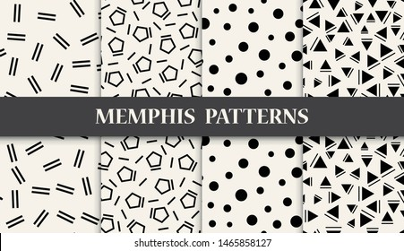 black and white geometric memphis style seamless pattern set for graphic design, background, abstract decoration , retro fabric