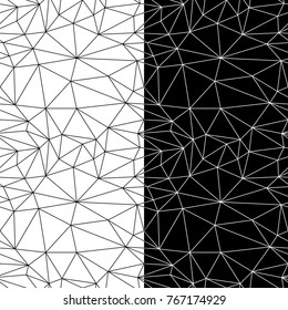 Black and white geometric ornaments. Set of seamless patterns for web, textile and wallpapers