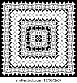 black and white geometric pattern in ethnic style