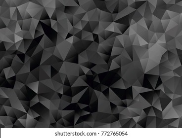 black and white geometric pattern, triangle polygon design, vector background
