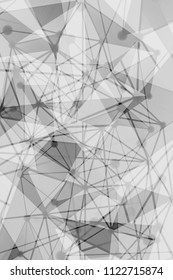 Black and White Geometric Pattern with Triangles. A Three-Dimensional Futuristic Structure. Wicker Abstract Texture. Vector. 3D Illustration
