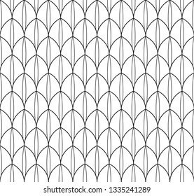 Black and white geometric peacock feather pattern. Folk vector pattern for adult colouring book, interior, wallpaper, fabric, apparel textile, phone case. Modern monochrome ornamental motif