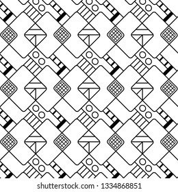black and white geometric repeating pattern design with squares, lines and rhombuses in modern design. pattern swatch at eps. file. for textile, fabric, wallpaper, backgrounds and surface designs