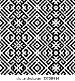 Black and white geometric Russian traditional ethnic seamless pattern for design, fancywork or weaving