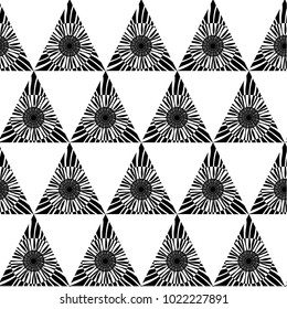 Black and white geometric seamless pattern with triangle, abstract background, vector. Vector illustration