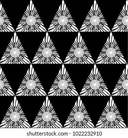 Black white geometric seamless pattern with triangle, abstract background, vector.