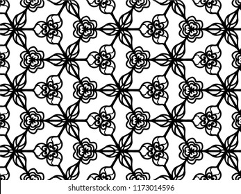 Black and white geometric seamless pattern, abstract background, vector, illustration,Seamless asian ethnic floral retro doodle black and white pattern in vector.