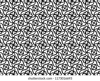 Black and white geometric seamless pattern, abstract background, vector, illustration,Seamless asian ethnic floral retro doodle black and white pattern in vector