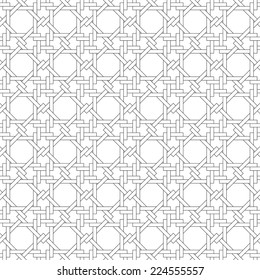 Black and white geometric seamless pattern with weave style, abstract background, vector, EPS10