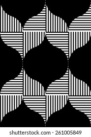 Black and white geometric seamless pattern with stripe. Abstract background. Vector seamless pattern.