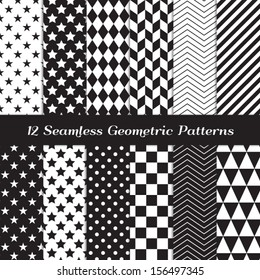 Black and White Geometric Seamless Patterns. Modern Backgrounds in Chevron, Polka Dot, Diamond, Checkerboard, Stars, Triangles, Herringbone and Stripes Patterns. Pattern Swatches with Global Colors.