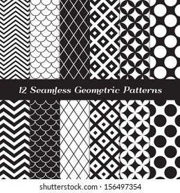Black and White Geometric Seamless Patterns. Retro Mod Backgrounds in Chevron, Polka Dot, Diamond, Checkerboard, Stars, Triangles, Herringbone and Stripes Patterns. Pattern Swatches with Global Colors