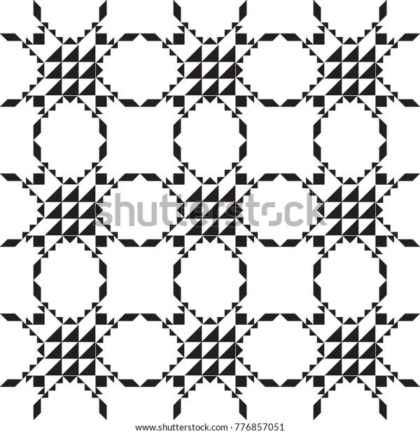 Black White Geometric Simple Minimalist Pattern Stock Vector