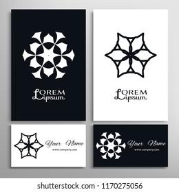 Black and white geometric symbol round pattern. Business card set. Mandala line ornament.  Isolated design element for logo, icon, label, emblem. Tribal ethnic decoration