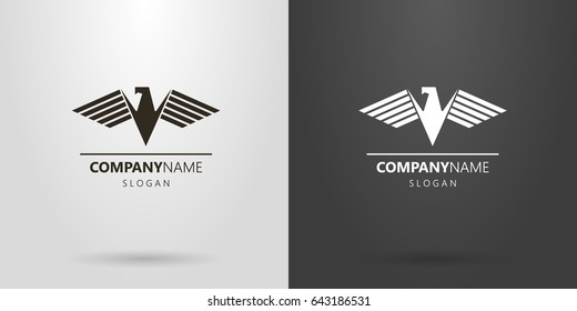 Black and white geometric vector logo of an abstract eagle