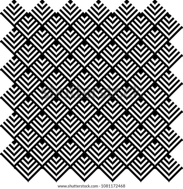 Black White Geometric Wallpaper Background Pattern Stock