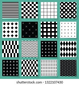 Black and white geometrical patterns design element set on light blue green background with shadows