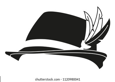 Black and white german feather hat silhouette. Historical costume party prop. Oktoberfest festival themed vector illustration for icon, sticker, label, badge, certificate or ad banner decoration