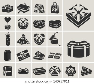 black and white gift boxes vector icons set