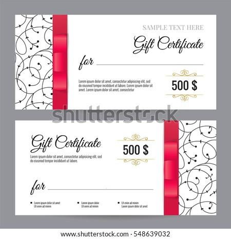 Black White Gift Voucher Template Floral Stock Vector Royalty Free