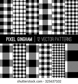 Black and White Gingham Patterns and Buffalo Check Plaid Patterns. Modern Pixel Gingham Patterns of Different Styles. Vector EPS File Pattern Swatches made with Global Colors.