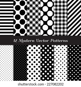 Black and White Gingham, Polka Dot and Candy Stripes Patterns. Modern Geometric Backgrounds. Vector Pattern Swatches made with Global Colors.