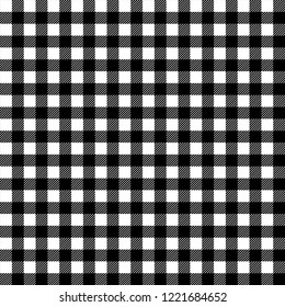 Black and white gingham traditional fabric seamless pattern, vector