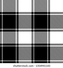 Black white gingham / vichy / buffalo check plaid pattern vector with stripes for textile design.