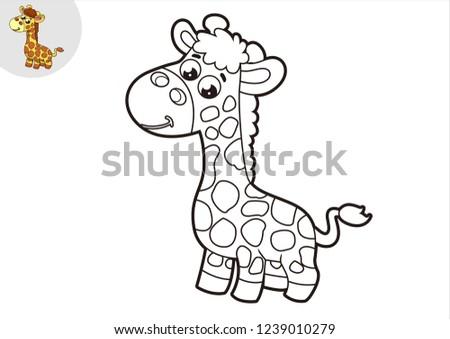Black White Giraffe Line Art Stock Vektorgrafik Lizenzfrei