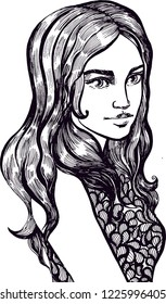 Black and white girl, isolated vector illustration. coloring book. Hand-drawn vintage, ink and pen.