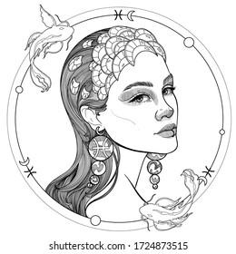 black and white girl portrait zodiac sign Pisces astrology horoscope