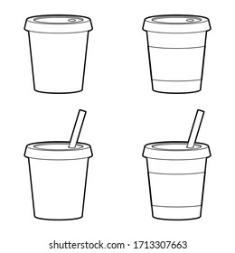 black and white glass of tea or coffee object, isolate, vector illustrator