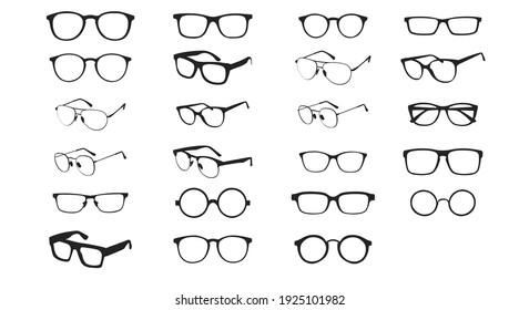 Black and white Glasses frames. Vector Isolated Set of Different Glasses Frames