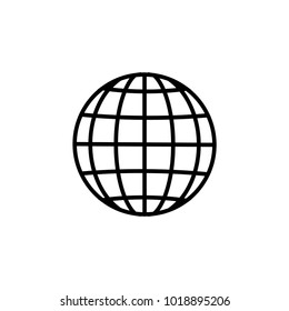 Black and white globe earth icons set. Different design. Vector illustration