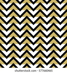 Black white and gold chevron seamless vector pattern.