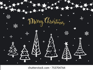 black white gold merry christmas happy new year background greeting card template with xmas cartoon pine trees and hanging on string stars garland