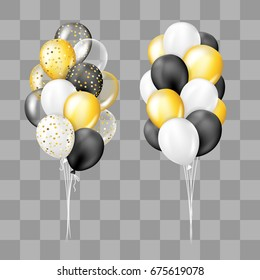 Black, white, gold, transparent and with confetti balloons bunch collection. Decorations in realistic style for birthday, anniversary or party design.