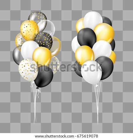 Black White Gold Transparent And With Confetti Balloons Bunch Collection Decorations In Realistic Style For Birthday Anniversary Or Party Design