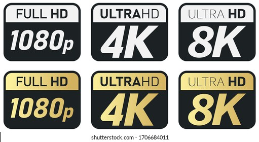 Black, white and golden video or screen resolution icons. Set from 1080p to 8k