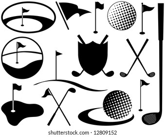 Black and White Golf Icons including golf balls and flags