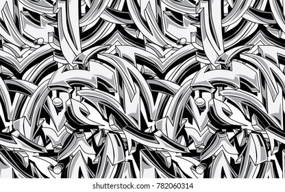 Black and white graffiti arrows seamless background